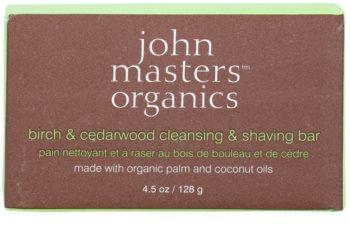 John Masters Organics Birch & Cedarwood jabón limpiador y de afeitado para mujeres y hombre