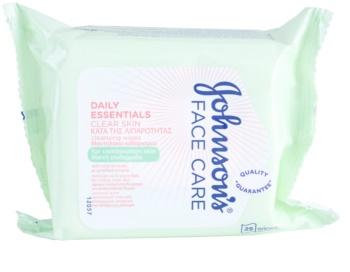 Johnson's Face Care Clear Skin toalhitas de limpeza para rosto