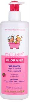 Klorane Junior żel pod prysznic do ciała i włosów o zapachu malin