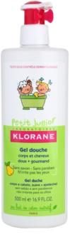 Klorane Junior gel de banho para corpo e cabelo com aromas de peras