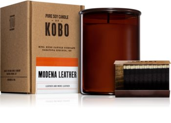 KOBO Woodblock Modena Leather vonná sviečka