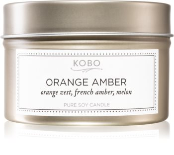 KOBO Motif Orange Amber scented candle in tin