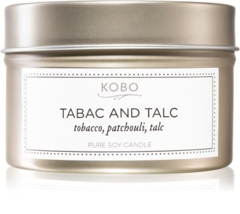 KOBO Motif Tabac and Talc scented candle in tin