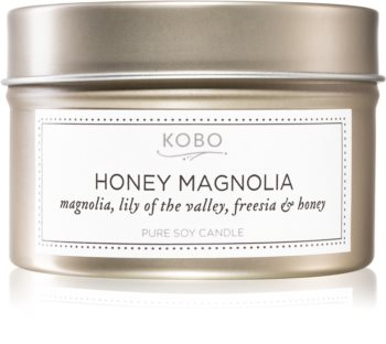 KOBO Natural Math Honey Magnolia scented candle in tin