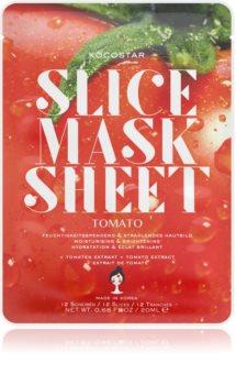 KOCOSTAR Slice Mask Sheet Tomato Zellschichtmaske mit aufhellender und feuchtigkeitsspendender Wirkung