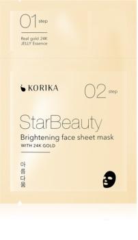 KORIKA StarBeauty mască textilă iluminatoare cu aur de 24 de karate