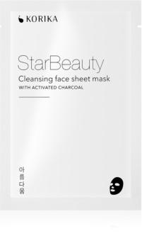 KORIKA StarBeauty mască textilă purificatoare, cu cărbune activ