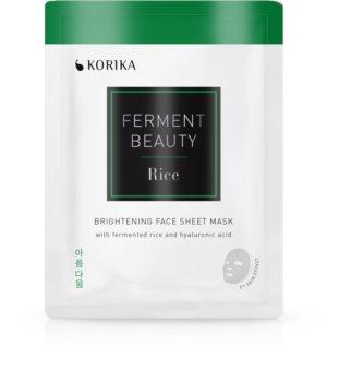 KORIKA FermentBeauty masque tissu illuminateur au riz fermenté et à l'acide hyaluronique