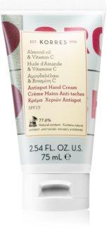 Korres Almond Oil & Vitamin C Creme de mãos contra manchas de pigmentação SPF 15