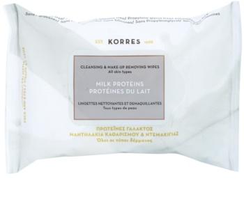 Korres Milk Proteins toallitas limpiadoras y desmaquillantes