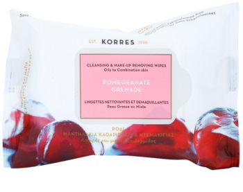 Korres Pomegranate toalhitas de limpeza para pele oleosa e mista