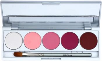 Kryolan Basic Eyes palette de fards à paupières 5 couleurs avec miroir et applicateur