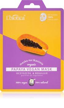 L'biotica Vegan Organic Papaya oczyszczająca maseczka do twarzy