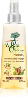 Le Petit Olivier Olive, Shea & Argan regenerator u spreju bez ispiranja za suhu i oštećenu kosu