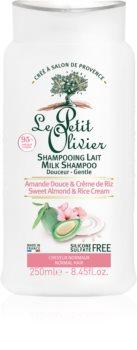Le Petit Olivier Sweet Almond & Rice Cream zjemňující šampon pro normální vlasy