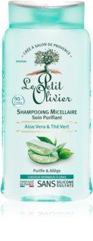 Le Petit Olivier Aloe Vera & Green Tea мицеллярный шампунь для нормальных и жирных волос