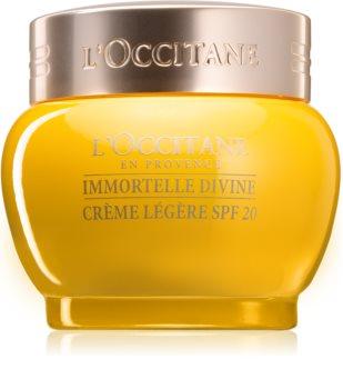 L'Occitane Immortelle Divine Light Cream SPF 20 lekki krem nawilżający przeciw zmarszczkom