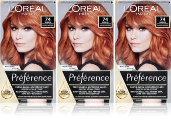 L'Oréal Paris Préférence боя за коса 74 Dublin (изгодна опаковка) цвят