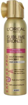 L'Oréal Paris Sublime Bronze samoopalovací sprej pro světlou pleť