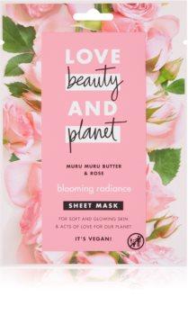 Love Beauty & Planet Blooming Radiance Muru Muru Butter & Rose plátýnková maska pro rozjasnění pleti