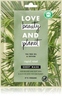 Love Beauty & Planet Rapid Reset Tea Tree Oil & Vetiver maseczka płócienna o działaniu odświeżającym