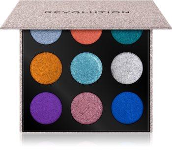 Makeup Revolution Pressed Glitter Palette paletă cu farduri cu sclipici