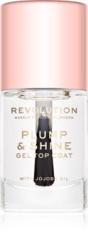 Makeup Revolution Plump & Shine lak na nehty s gelovým efektem průsvitný