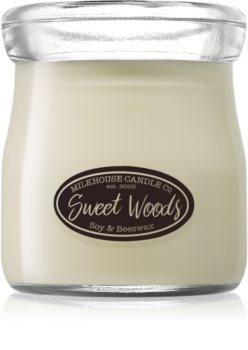 Milkhouse Candle Co. Creamery Sweet Woods duftlys Cremekrukke