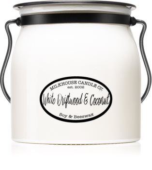 Milkhouse Candle Co. Creamery White Driftwood & Coconut candela profumata Butter Jar