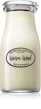 Milkhouse Candle Co. Creamery Warm Wool scented candle Milkbottle