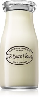 Milkhouse Candle Co. Creamery Tiki Beach Flower scented candle Milkbottle