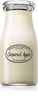 Milkhouse Candle Co. Creamery Caramel Apple scented candle Milkbottle
