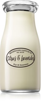 Milkhouse Candle Co. Creamery Citrus & Lavender scented candle Milkbottle