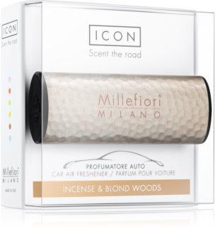 Millefiori Icon Incense & Blond Wood deodorante per auto Hammered Metal
