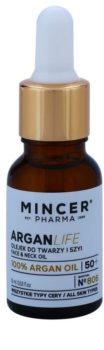Mincer Pharma ArganLife N° 800 50+ óleo facial para rosto e pescoço