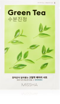 Missha Airy Fit Green Tea zklidňující plátýnková maska s hydratačním účinkem
