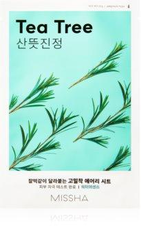 Missha Airy Fit Tea Tree платнена маска с почистващ и освежаващ ефект за чувствителна кожа на лицето