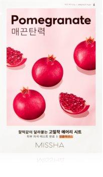 Missha Airy Fit Pomegranate платнена маска с омекотяващ и освежаващ ефект