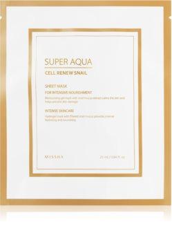 Missha Super Aqua Cell Renew Snail plátýnková maska s hydratačním a zklidňujícím účinkem s hlemýždím extraktem