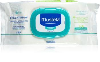 Mustela Dermo-Pédiatrie Stelatopia нежни мокри кърпички за бебета за атопична кожа