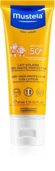 Mustela Bébé Lotiune pentru protectie solara , rezistenta la apa, pentru copii SPF 50+