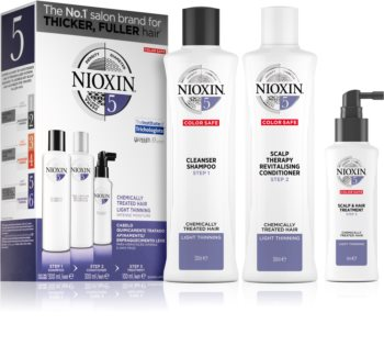 Nioxin System 5 καλλυντικό σετ (Για μέτρια έως σοβαρή αραίωση κανονικών, φυσικών και χημικώς επεξεργασμένων μαλλιών) unisex
