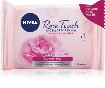 Nivea Rose Touch мицеларни кърпички за почистване на грим