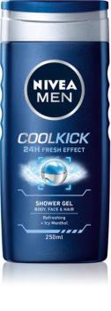 Nivea Men Cool Kick sprchový gel na tvář, tělo a vlasy