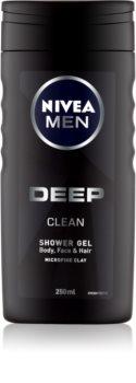 Nivea Men Deep gel de banho para o rosto, corpo e cabelo