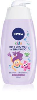 Nivea Kids Sparkle Berry Suihkugeeli Ja Hiustenpesuaine 2 in 1 Lapsille