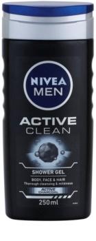 Nivea Men Active Clean gel doccia per viso, corpo e capelli per uomo