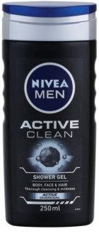 Nivea Men Active Clean gel za prhanje za obraz, telo in lase za moške