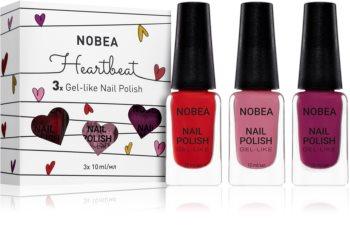 NOBEA Heartbeat zestaw lakierów do paznokci Crimson Red odcień