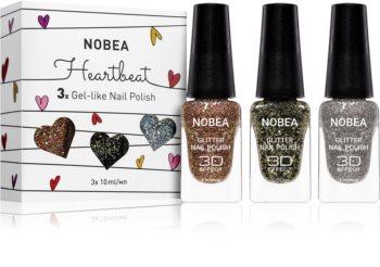 NOBEA Heartbeat zestaw lakierów z brokatem do paznokci